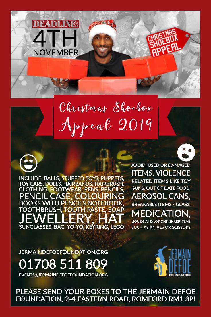 Christmas Shoe Box Appeal 2019.Christmas Shoebox Appeal Jermain Defoe Foundation